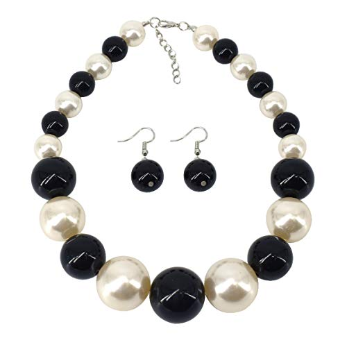 (Utop Chunky Pearl Choker Necklace, Large Pearl Statement Necklace, Trending Choker Pearl Wedding Jewelry for Brides, Boho Pearl Jewelry Set (Black/White))