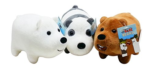 We Bare Bears Mini Plush Toy Set of 3 - Gift for We Bare Bears TV Show Fans - Grizz, Ice Bear, Panda - Each 5 inches long, -