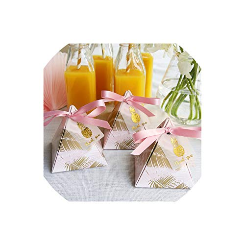 Pineapple Leaves Triangular Pyramid Wedding Favors And Gift Box With Thanks Card Candy Boxes Gift Packaging Bag Party Decoration,85X85X90Mm,100 Pcs]()