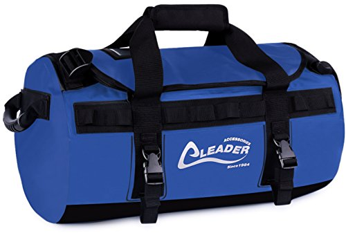 Leader Accessories Deluxe Water Resistant PVC Tarpaulin Duffel Bag Backpack (Blue, 90L)