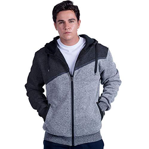 - Leehanton Men's Heavy Fleece Hoodie Full Zip Colorblock Fashion Athletic Sweatshirt Jacket Navy Lt grey Large