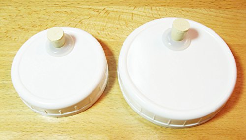 1 QRP Mason Jar Drinking/Fermentation Lids Caps Food Grade w/installed Grommets, Seals & Stoppers (1 WIDE MOUTH)