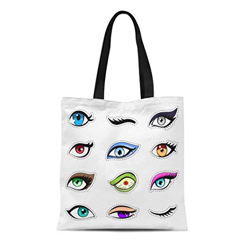 Semtomn Canvas Tote Bag Shoulder Bags Patch of Woman Eyes Collection Eyelashes Fatal Beauty Bright Women's Handle Shoulder Tote Shopper Handbag -
