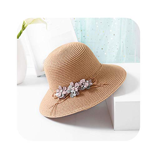 Sun hat Breathable Pearl Straw hat Women Big Brim Straw Beach hat Casual Shade,Khaki,56-58cm
