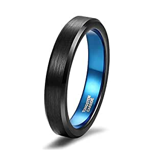 Shuremaster 4mm Tungsten Carbide Ring for Boys Unisex Black Blue Thin Two Tone Beveled Edge Comfort Fit Size 4