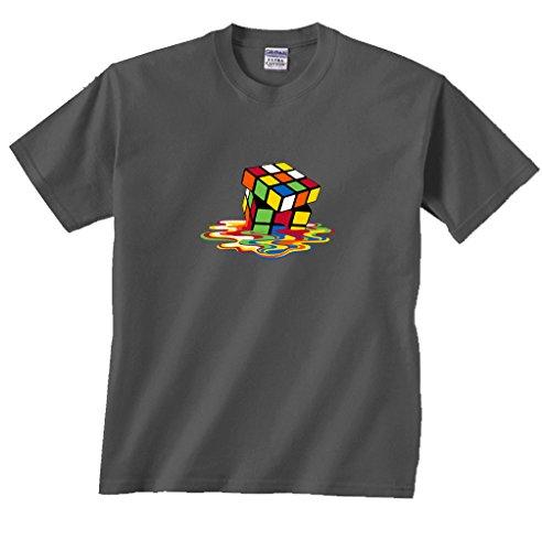 Fair Game Melting Puzzle Cube Sheldon Big Bang Theory T-Shirt-Charcoal-XL