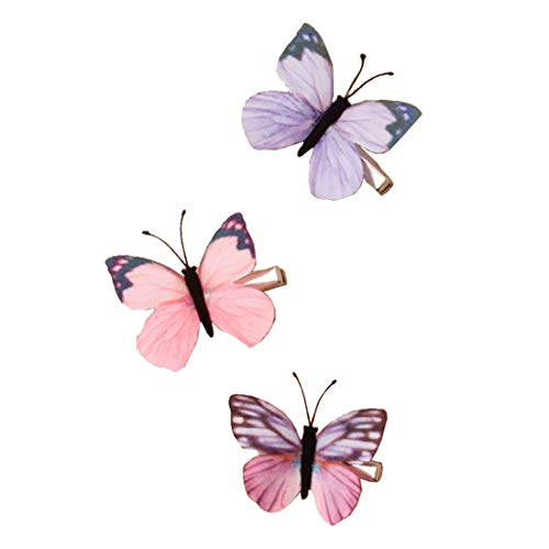 Rimi Hanger Assorted Color Baby Girl Hair Clips Butterfly Hair Clips Toddlers Infants Kids Butterfly Snap Clips Barrettes Pack of 3