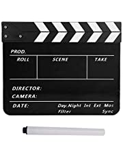 Acrylic Directors Clapperboard, TV Movie Film Scene Action Cut Prop Clapboard with Pen for Shoot Props/Advertisement/Home Decoration/Cosplay/Background, etc(Black/White/Black)