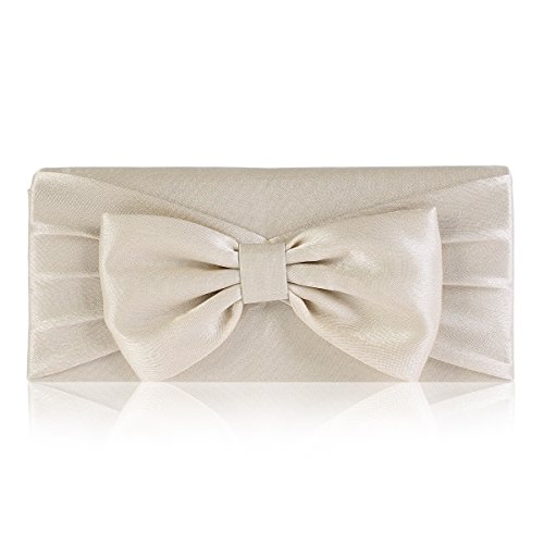 Pleated Bow Clutch - Damara Womens Pretty Bowknot Detail Evening Bridal Bag,Champagne