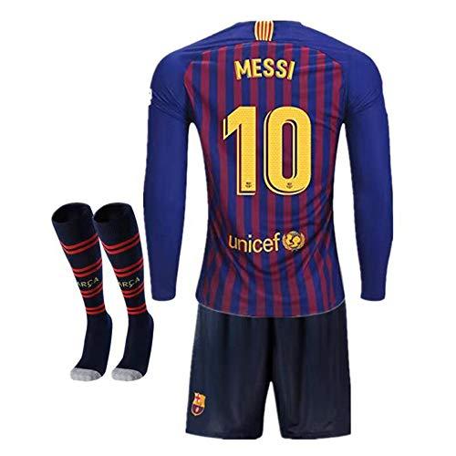 03da8ab66 Barcelona  10 Messi 2018-2019 Season Home Kids or Youth Long Sleeve Soccer  Jerseys