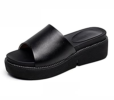 Mubeuo Womens Casual Leather Sandles Slide Sandals