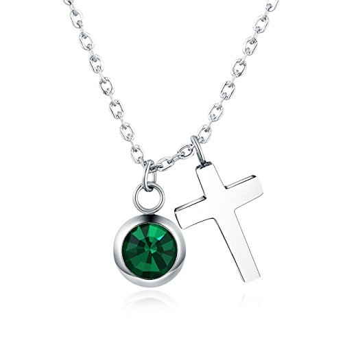 Green Crystal Cross Necklace - Vinjewelry Crystal Birthstones Cross CZ Pendant Necklace Emerald in May Gifts For Her