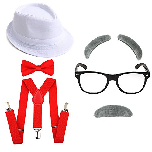 1920's Boys Gangster Costume Set - Short Brim Fedora Hat,Adjustable Suspenders with Pre-Tied Bow Tie, Old Man Eyebrows & Moustache,Nerd Fake Glasses for Kids & Child(White Hat & Red -
