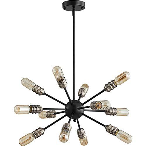 TZOE SputnikChandelier Mid Century Modern Pendant 12 Light Rustic Ceiling Light Bronze and Black LivingRoomLighting DiningRoomLights UL Listed ()