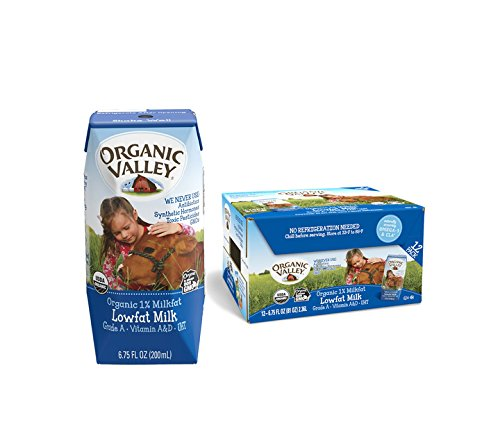 Organic Valley, Milk Boxes, Shelf Stable 1% Milk, Healthy Snacks, 6.75oz (Pack of 24)