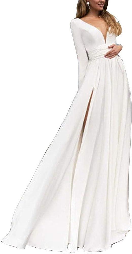 Runyue Womens Vintage Long Sleeve Deep V Neck A-line Dress Side Slit Cocktail Bridesmaid Dress