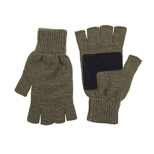 Levi's Men's Heathered Knit Fingerless Gloves, Olive, One Size