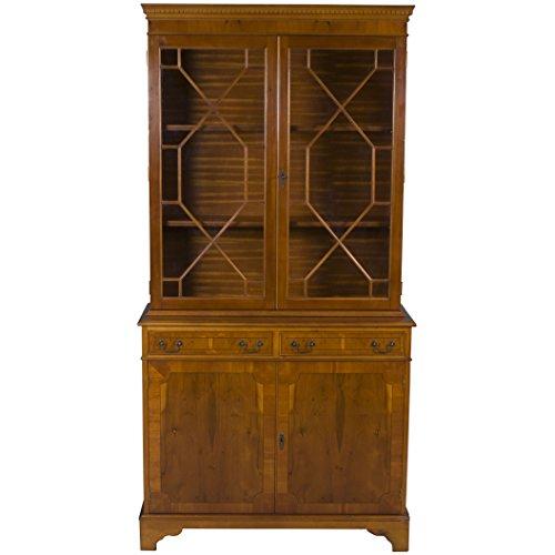 Yew Wood Furniture - English Classics Yew Wood Two Glass Door Bookcase
