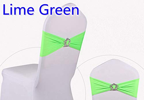 Jiaju-art Colorful Royal Crown Buckles Lycra Chair Sash for Wedding Chairs Decoration Spandex Band Stretch Bow Tie Lycra Ribbon Belt Lime Green ()