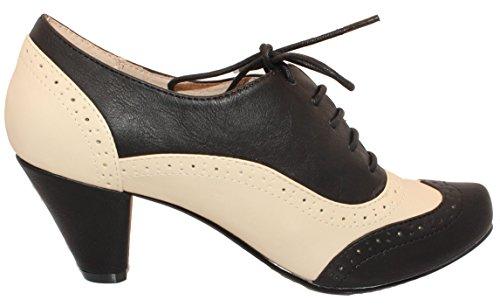 Chelsea Mannskap Moscato - Svart / Hvit Blonde Mid-heel Oxford Pumpe