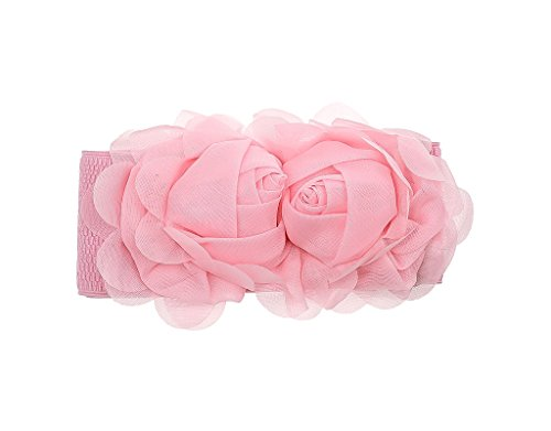 (Wide Waist Belts For Women Girls - BONAMART Ladies Corset Belt For Dresses Stretch Wide Sweet Flower Elastic Lace Fabric Waistband Cinch Pink - 26