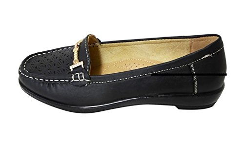 Loafer Moccasin Womens black Shoes WIWI Soft Perforated Slip On 02 Shoelace Faux Buckles Leather n0YUwqCq