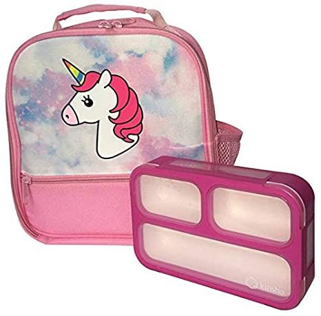 8ceb4a6a12d1 Unicorn Lunch-Box for Girls with Mini Bento-box. Large Cute School  Lunch-Bag for Kids. Lunch-boxes are Insulated. BPA Free. Pink