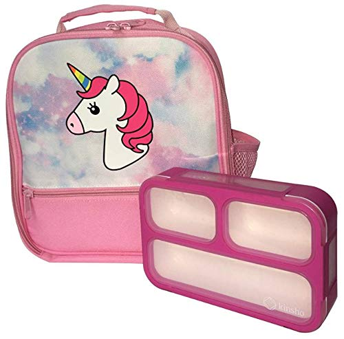 Unicorn Lunch-Box for Girls. Pink Lunch Bag Rainbow Horn. Large School Lunch-Boxes Kids. Cute Tote. Insulated. BPA Free. 3