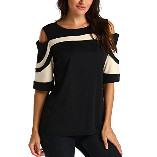 Women Blouse Daoroka Sexy Off Shoulder Patchwork Three-Quarter Sleeve Casual Loose Sweater Pullover T-Shirt Tops (2XL, Beige (Three Button Tie)