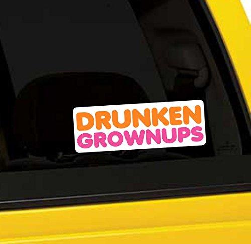 Drunken Grownups Funny Vinyl Sticker 5 Inch