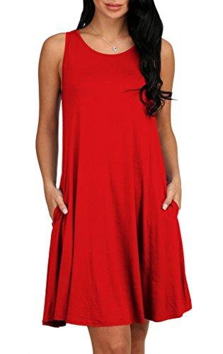 Alaroo Womens Summer Sleeveless Pocket Loose Fit Casual Beach T Shirt Dress Red L