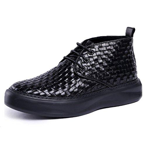 NIUMJ Stivali Martin Scarpe da Uomo in Pelle Scarpe Inghilterra Stivaletti Scarpe di Cuoio Scarpe Alte Scarpe Coreane Scarpe di Tendenza Cunei Teste Rotonde Black