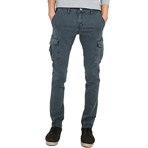 - myglory77mall Mens Vintage Cargo Pocket Faded Slim Fit Skinny Jeans Pants Trousers Gray 30