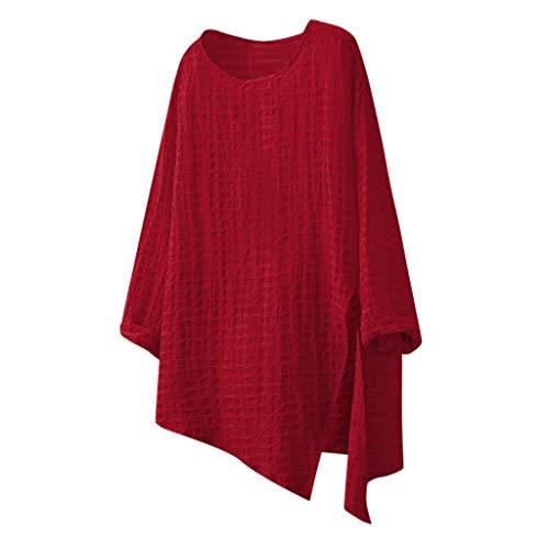 Sunkessety Women's Long Sleeve Round Neck Irregular Hem Oversize Blouse Top Loose Shirts Tunics Tops S-5XL Red