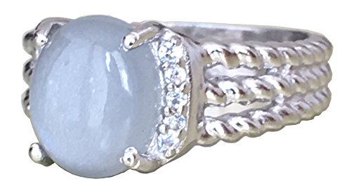 (GEMPARA Designer Inspired Twisted Cable 10x8mm Grey Moonstone with Simulated Diamond Cushion Ring Size 7 8 9 (7))