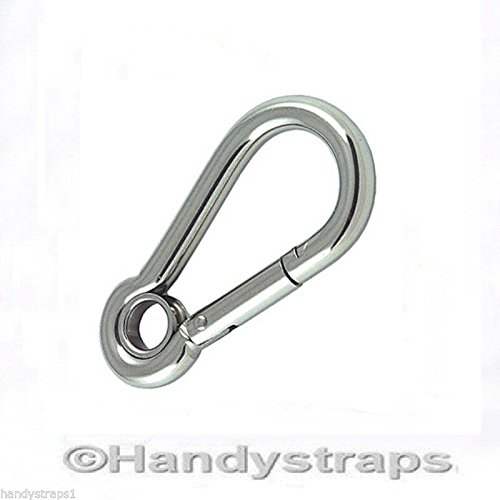 7mm x 70mm Eye Carabiner Carabina Karabiner Snap Hook Stainless Steel Marine Handy Straps