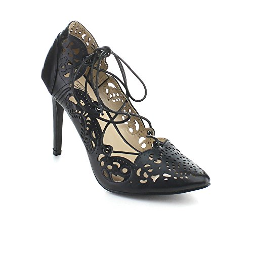 BOLARO SH1646 Women's Closed Toe Hollow-out Lace Up Stiletto Pumps, Color:BLACK, Size:7.5