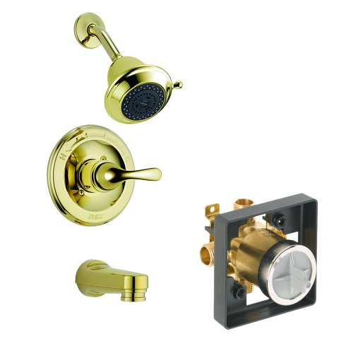 Balance Shower Classic Pressure (Delta Delta KTSDCL-T13420SHCPD-PB Classic Tub/Shower Kit Pressure-Balance Single-Function Cartridge, Polished Brass Polished Brass)