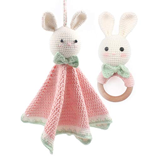 Snuggle Blankets for Baby Girl Hold and Rattle Set of 2 Handmade Knitted Patterns Sleeper, Soft Yarn Material Bunny Pink