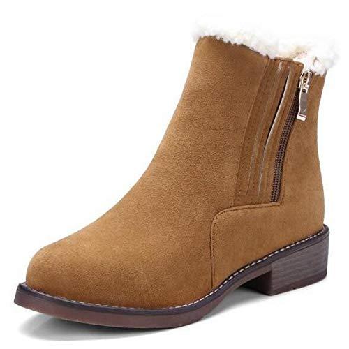De Cuadrado Mujer Nieve Negro Pingxiannv Zapatos Tobillo Marrón Invierno Botas Tacón Señoras ntww5W6