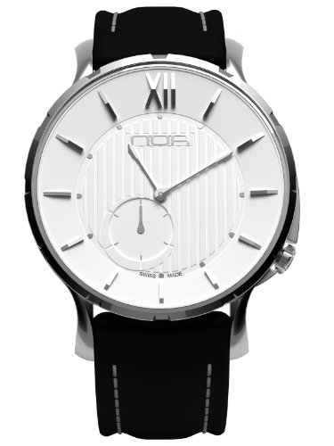 Noa Unisex Swiss Quartz Watch - Premium Analog Display With White Dial and Black Leather Watch Band - Silver Accents - Water Resistant Stainless Steel Fashion - SLQ 002 by Noa Watch