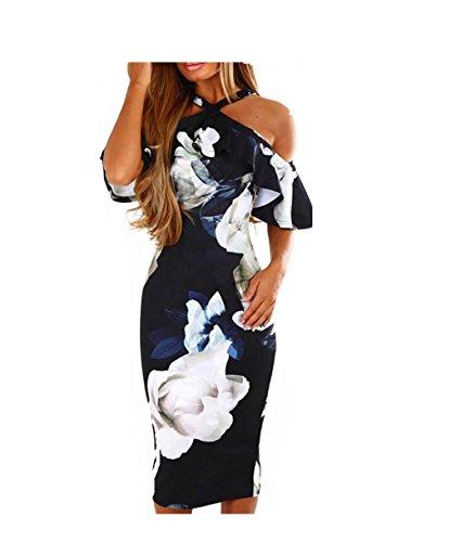 Rambling Women's Casual Halter Neck Maxi Dress Vintage Floral Print Backless Beach Long Princess Dresses Navy