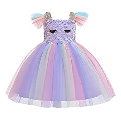 Children's Flying Sleeves Sequins Rainbow Color Dress