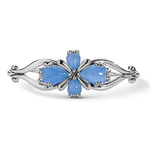 Carolyn Pollack Sterling Silver Blue Jade Gemstone Four Petal Cross Cuff Bracelet Size Small