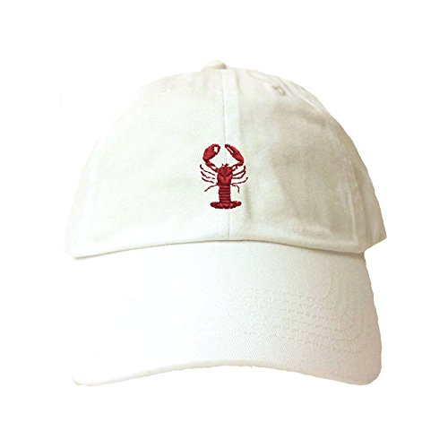 Go All Out Adjustable White Adult Lobster Embroidered Dad Hat ()