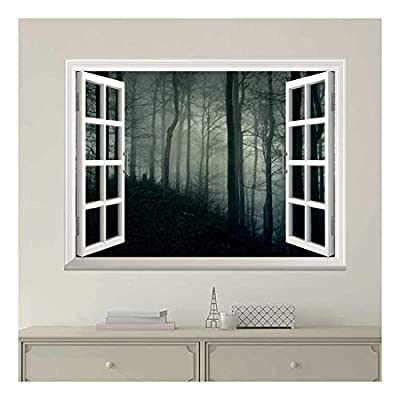 Modern White Window Looking Out Into a Dark Foggy Forest - Wall Mural, Removable Sticker, Home Decor - 24x32 inches