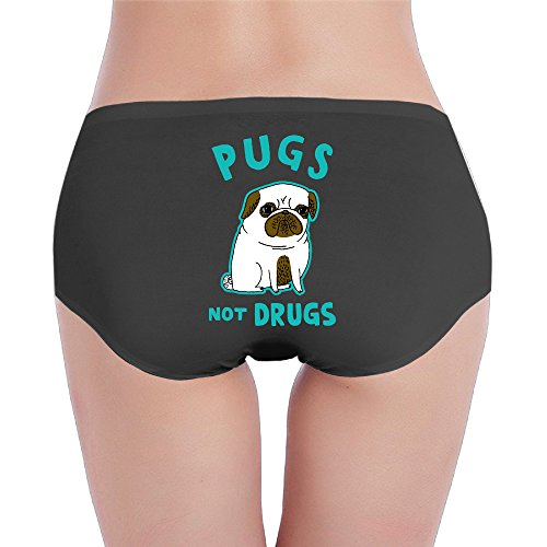 Price comparison product image Pugs Not Drugs Funny Cartoon Bulldog Womens Print String Panty