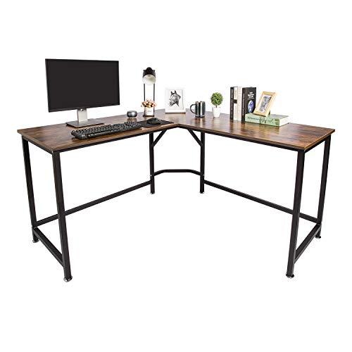 """TOPSKY L-Shaped Desk Corner Computer Desk 59"""" x 59"""" with 24"""" Deep Workstation Bevel Edge Design (Industrial/Rustic Brown)"""