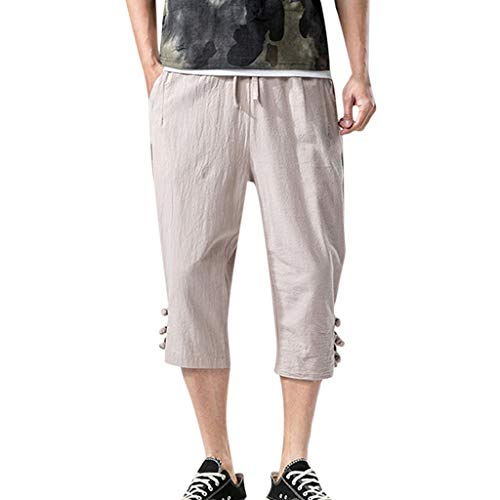 (BingYELH Men's Casual Drawstring Linen Short Summer Loose Harem Capri Yoga Pants Beach Trousers Jacket Pants Pajama Khaki )