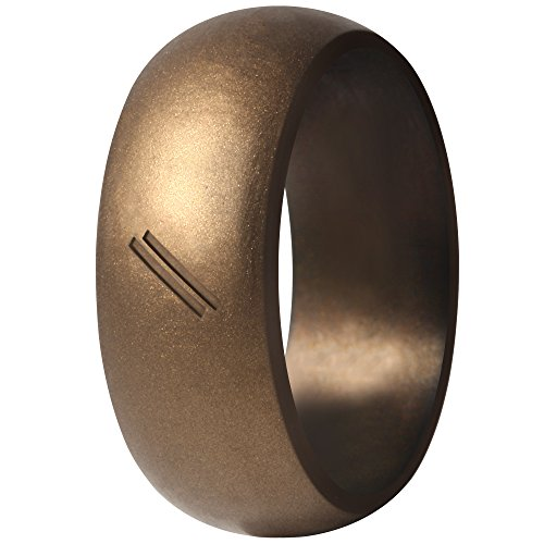 ThunderFit Silicone Wedding Ring for Men, Rubber Wedding Band (Bronze, 13.5-14 (23mm))